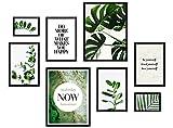 ARTFAVES® Poster Set - ELEGANTE BOTANIK   Wanddeko Wohnzimmer & Schlafzimmer   8 moderne Wandbilder   Bilder Eukalyptus, Monstera, Pflanzen, grün, natur   ohne Bilderrahmen