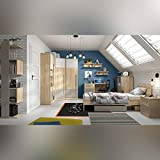SMARTBett NAMECK Kinderzimmer Jugendzimmer 11-TLG. in der Farbenkombination Buche-Nachbildung/Weiß Glanz/Grau Kinderzimmer Komplett-Set