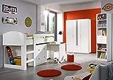 möbel-direkt Jugendzimmer Lenny in Weiß 3 teilig mit Hochbett mit integriertem Schreibtisch, Schrank, Standregal