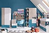 Jugendzimmer Komplett - Set C'Aalst', 6-teilig, Eiche/Weiß/Blau