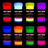 neon nights Nachleuchtende Neon Farben | Phosphoreszierende Farbe für Glow Effekt im Dunkeln | 8 x 20ml Leuchtfarben Paint Set