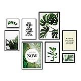 ARTFAVES Poster Set - Elegante BOTANIK   Deko Monstera grün   8 Moderne Wandbilder Premium Mix   30x40-21x30-13x18   Bilder Wohnzimmer, Schlafzimmer   ohne Rahmen