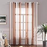 MIULEE Voile Vorhang Transparente Gardine aus Voile mit Ösen Schlaufenschal Ösenschals Transparent Fensterschal Wohnzimmer Schlafzimmer 2er Set 140x245 cm Weiß + Orange