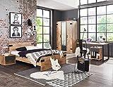 lifestyle4living Jugendzimmer Komplett-Set in Plankeneiche-Dekor und Graphit, 3-teilig für Mädchen und Junge mit Kleiderschrank, Bett und Schreibtisch, Idustrial-Look