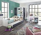 lifestyle4living Jugendzimmer in strahlendem weiß mit Absetzungen in Graphit, 5-teiliges Komplettset mit begehbarem Eckkleiderschrank, Kinderzimmer