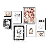 ARTFAVES Poster Set - Coco | Deko Rose rosa | 8 Moderne Wandbilder Premium Mix | 30x40-21x30-13x18 | Bilder Wohnzimmer, Schlafzimmer | ohne Rahmen
