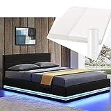 Polsterbett Toulouse 140x200 cm – Bett mit Matratze, Lattenrost, Kopfteil, LED & Stauraum – Modernes Bettgestell - Bezug Kunstleder in Schwarz