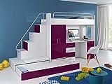 Möebel für Dich Hochbett TOMI - Schreibtisch, Schrank, Treppe und Gästebett mit Hochglanz-Fronten in weiß/schwarz/rosa/grau/lila/blau (violett)