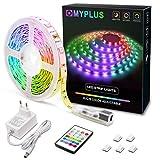 MYPLUS LED Streifen, RGB Led Strips 5M mit IR-Fernbedienung und 12V Stromversorgung, Farbwechsel SMD 5050 Farbänderung Led-Band für Zuhause, Schlafzimmer,TV,Decke,Schrankdeko …