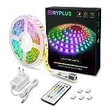 MYPLUS LED Streifen, RGB Led Strips 5M mit IR-Fernbedienung und Netzteil Led Beleuchtung Band für Zuhause, Schlafzimmer, TV, Decke, Schrankdeko