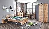 lifestyle4living Jugendzimmer Komplett-Set in Plankeneiche-Dekor und Graphit, 3-teilig für Mädchen und Jungen mit Kleiderschrank, Bett und Schreibtisch, Idustrial-Look