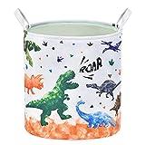 Dinosaurier Wäschekorb - Faltbare Polyester Runden Aufbewahrungskorb mit Griffen Lagerung Korb Sorter für Kinder Jungen Zimmer Veranstalter Spielzeugaufbewahrung Baby Kleidung Kindergartenkorb