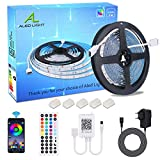 ALED LIGHT 5M LED Strip RGB SMD 5050 150 LEDs Bluetooth LED Streifen, LED Band, 12V Netzteil & 44 Key Fernbedienung, Smart App Steuerung LED Stripes Lichtband Leiste Band Beleuchtung