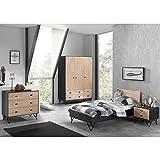 Jugendzimmer Komplett Set Korpus massiv schwarz, Front Birke massiv natur lackiert, 90x200 cm Jugendbett, Nachttisch, Kleiderschrank und Kommode