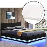 ArtLife LED Polsterbett Toulouse 140 × 200 cm mit Matratze, Lattenrost & Bettkasten - Kunstleder Bezug & Holz Gestell – schwarz – Bett Jugendbett