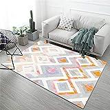jugendzimmer komplett Set Wohnzimmer Teppich geometrisch orange grau schmutzabweisend und rutschig Teppich jugendzimmer Jungen antirutsch für Teppich 200X280CM 6ft 6.7' X9ft 2.2'