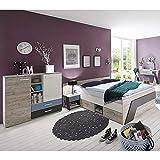 Jugendzimmer Komplett Set Kinderzimmer LEEDS-10 & Schreibtisch Kleiderschrank 140x200cm Jugendbett, in Sandeiche Nb.-weiß/Lava-Denim