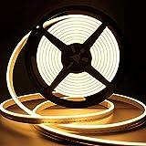 Lamomo LED Strip Warmweiss, 12V Dimmbar Neon LED Streifen, 5M Wasserdicht 3000K LED Lichtband, Silikon DIY Flexibel Lichtleiste mit Netzteil und Controller für Innen Aussenbereich Heim Küche Deko