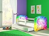 Clamaro 'Fantasia Weiß' 140 x 70 Kinderbett Set inkl. Matratze, Lattenrost und mit Bettkasten Schublade, mit verstellbarem Rausfallschutz und Kantenschutzleisten, Design: 18 Einhorn Regenbogen