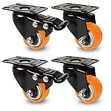 Möbelrollen Set - mit Hebelbremse (Bremsfunktion) - bis 240 KG belastbar - 2x Lenkrolle & 2x Lenkrolle mit Bremse (orange, 40 mm)