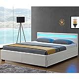 Juskys LED Polsterbett Lyon mit Bettkasten 140 x 200 cm – Bettgestell mit Lattenrost - Kunstleder – weiß – Einzelbett Jugendzimmer Möbel