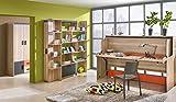 Jugendzimmer Komplett - Set I Marcel, 4-teilig, Farbe: Esche Orange / Grau / Braun