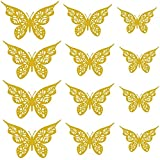 GOUWUCHE 12PC 3D Hohl Schmetterling Wanddekor 3 Größen Schmetterling Dekor Hohle Schnitzerei Schmetterling Exquisites Design, Party Kuchen Dekorationen für Mädchen Kinder Baby Schlafzimmer Badezimmer