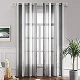 MIULEE Voile Vorhang Transparente Gardine aus Voile mit Ösen Schlaufenschal Ösenschals Transparent Fensterschal Wohnzimmer Schlafzimmer 225x140 cm 2er Set Stripe