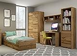 QMM Traum Moebel Jugendzimmer Kinderzimmer komplett Forest Set C Schrank Standregal Kommode Schreibtisch Wandregal Bett 200x90 mit Bettkasten