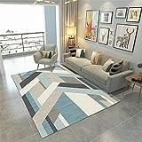 Xiaosua Zimmer deko blau Moderner Teppich Teppich blaues Streifenmuster weicher Wohnzimmer Teppich rutschfest jugendzimmer komplett Set 100X160CM Teppich 3ft 3.4''X5ft 3''