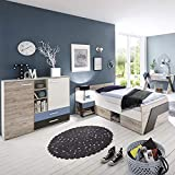 Jugendzimmer Set LEEDS-10 & Schreibtisch Kleiderschrank 90x200cm Jugendbett und Nachtisch in Sandeiche Nb.-weiß/Lava-Denim