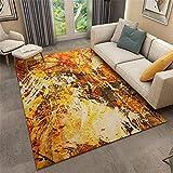Xiaosua jugendzimmer komplett Set Orange Retro-Stil Teppich orange chaotisch abstraktes Muster Anti-Rutsch-Teppich Multi-Size Teppich Wohnzimmer 120X160CM couchtisch 3ft 11.2''X5ft 3''
