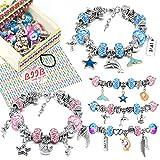 BIIB Geschenke für Mädchen - Charm Armband Kit DIY, 2021 Kleine Geschenke für Kinder, Schmuck Bastelset Mädchen, Spielzeug Mädchen, Teenager Mädchen Geschenke 5-12 Jahre(3 Silber Kette)