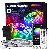 LED Strip 21.5m, APP Steuerung LED Streifen Leiste mit Fernbedienung Netzteil, RGB Led Band Lichter Lichtband für Schlafzimmer, Zimmer, Zuhause Farbwechsel Led Lichterkette